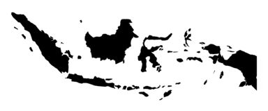 印度尼西亚传染媒介图画仅简单的锋利的角落地图  向量例证