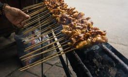 印度尼西亚传统地方食物心满意足或satay在与在雅加达拍的烟照片的格栅印度尼西亚 免版税库存照片