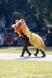 印度尼西亚全国武力做着舞狮attracti 免版税库存照片