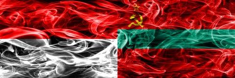 印度尼西亚对德涅斯特河沿岸共和国肩并肩被安置的烟旗子 浓厚 向量例证