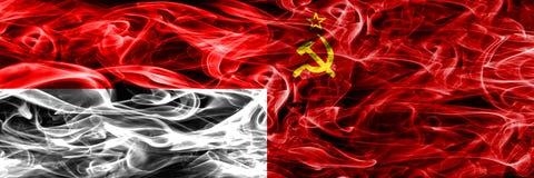印度尼西亚对苏联肩并肩被安置的烟旗子 浓厚上色 向量例证