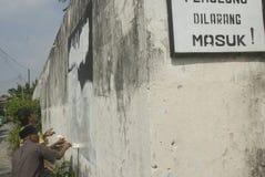 印度尼西亚智力观看关于伊斯兰教国家问题的极端小组 库存图片