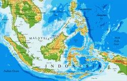 印度尼西亚物理地图 库存照片