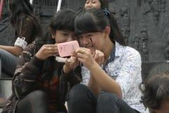 印度尼西亚的行动和看起来俏丽的村庄构成学生2014年 库存图片