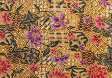 印度尼西亚蜡染布布料的详细的样式 免版税库存照片