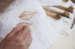 印度尼西亚蜡染布 免版税库存图片