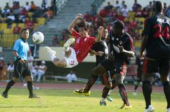印度尼西亚足球面对停止 免版税库存图片