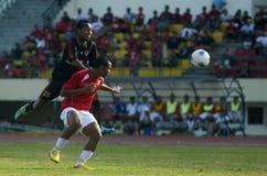 印度尼西亚足球面对停止 库存图片