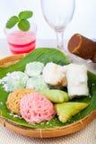 印度尼西亚食物Putu, Klepon, Putu麻阳 免版税库存照片