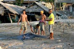 从印度尼西亚, Lamalera的渔夫 免版税库存照片