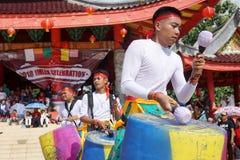 印度尼西亚 撞击声音乐表现在春节庆祝时 库存照片