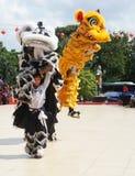 印度尼西亚 龙舞蹈表现在春节庆祝时 免版税库存图片