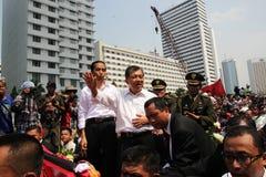 印度尼西亚Joko维多多的总统的就职典礼和副总统和优素福Kalla 库存照片