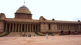 印度平底锅射击Rashtrapati Bhavan-总统房子在德里 股票录像