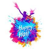 印度庆祝问候颜色节日的愉快的Holi背景  库存例证
