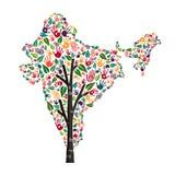 印度手印刷品世界帮助的树标志 库存例证