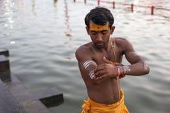 印度教士身体绘画 库存图片
