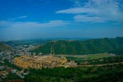 印度斋浦尔琥珀色的堡垒美好的风景在拉贾斯坦 古老印地安宫殿建筑学全景 库存图片