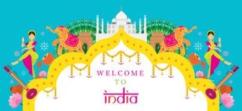 印度旅行吸引力横幅 库存图片