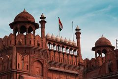 印度旅行旅游业背景-德里红堡奥瑟莉珀Qila德里-世界遗产名录站点 德里,印度 库存图片