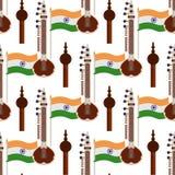 印度旗子、锡塔尔琴和Pungi无缝的样式 皇族释放例证