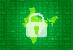 印度映射 例证有锁和二进制编码背景 阻拦的互联网,病毒攻击,保密性保护 向量例证