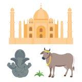 印度泰姬陵和budda大象旅行导航象 库存照片