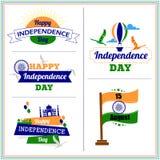 印度独立日设计模板 三色的印度 自由鸟,热空气气球传染媒介 库存照片