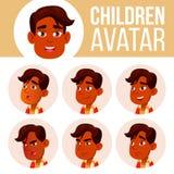 印度男孩具体化集合孩子传染媒介 高中 面对情感 用户,字符 欢呼,相当 动画片顶头例证 皇族释放例证