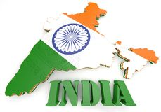 印度的地图例证有旗子的 免版税库存图片