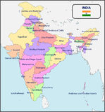 印度的政治地图有名字的 图库摄影