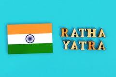 印度的旗子和Ratha yatra文本  普里Jagannath Ratha Jatra往返旅行叫作Bahuda Jatra 免版税库存图片