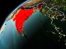 印度的晚上视图地球上的 免版税图库摄影