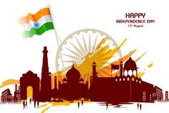 印度的纪念碑和地标印地安人美国独立日庆祝背景的 向量例证