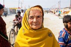 印度的美丽的年长妇女 免版税库存照片
