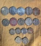 印度的老硬币收集 免版税库存照片