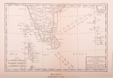 印度的葡萄酒地图在1750年打印了 库存照片