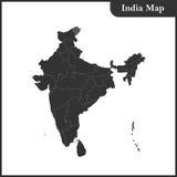 印度的详细的地图和地区和斯里兰卡 免版税库存图片
