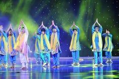 印度的Bhangra舞蹈舞蹈 免版税库存图片