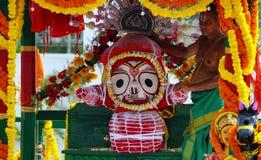 印度神Jagannath, balabhadra和Subhadra神象在运输车rath yatra的 免版税库存照片