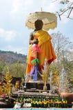 印度神shiva雕象图象在大桶的Phou或Wat Phu考古学站点 免版税库存照片