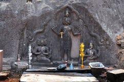 印度神shiva雕象图象在大桶的Phou或Wat Phu考古学站点 库存图片