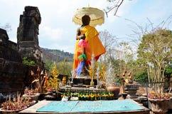 印度神shiva雕象图象在考古学站点Wat Phu或V 图库摄影