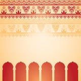 印度红和奶油无刺指甲花寺庙卡片 向量例证