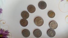 印度老硬币 免版税库存图片