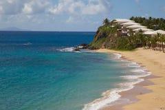 印度西部、加勒比、安提瓜岛、圣玛丽、雍容海湾&海滩 免版税图库摄影