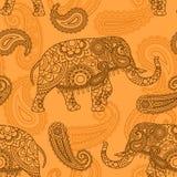 印度象无缝的样式 免版税库存照片