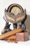 印度象温泉木图  免版税库存照片