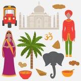 印度集 印度教设计元素 佩带印地安传统布料的南亚美丽的妇女和人 泰姬陵寺庙Landmar 库存图片