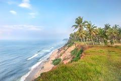 印度,喀拉拉,瓦尔卡拉海滩峭壁 免版税库存照片